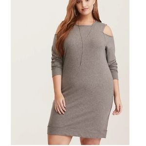 Torrid GREY FRENCH TERRY COLD SHOULDER DRESS